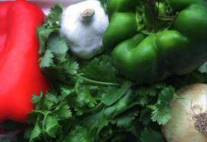 Some of the ingredients for the sofrito