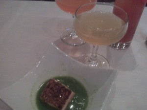 Salmon With Papalo Coconut Broth and colorful cocktails