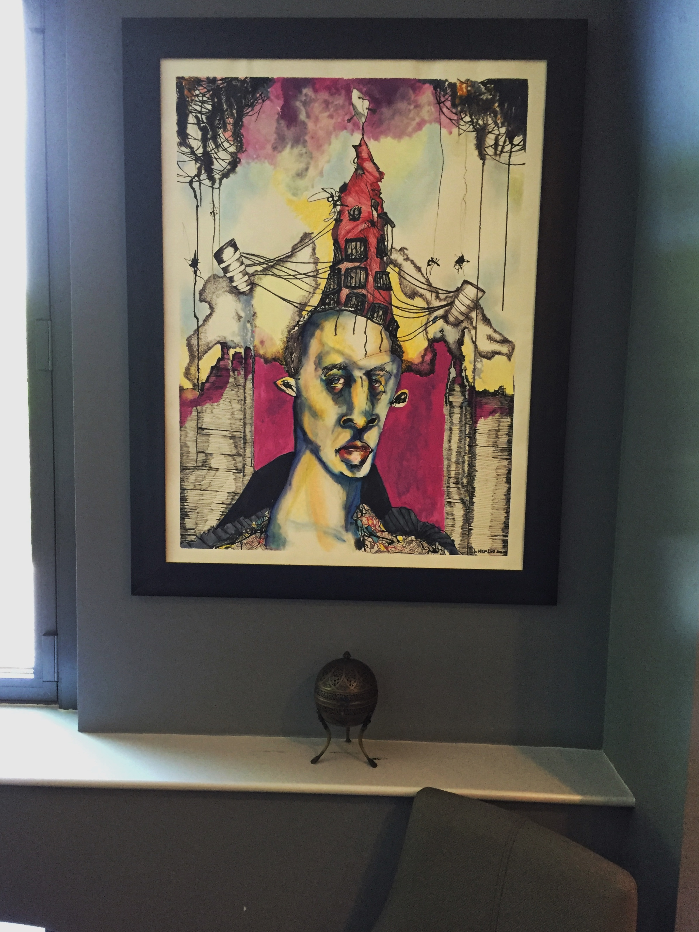 Expressionist work from a young contemporary Dominican artist and a small urn from Turkey